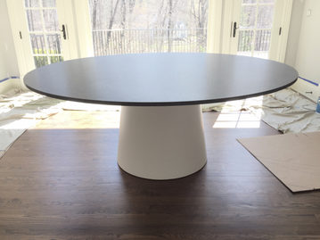 #419. TABLE, stone, powder coated steel