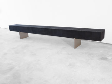 #651. BENCH, textured wood, brushed stainless