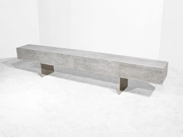 #435. BENCH, concrete, brushed steel