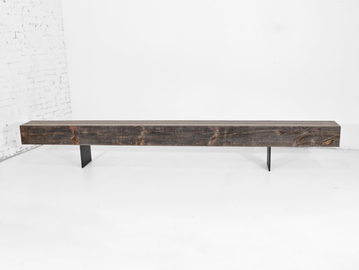 #531. BENCH, pressed wood, blackened steel