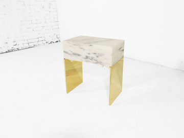 #548. SIDE TABLE, marble, brass