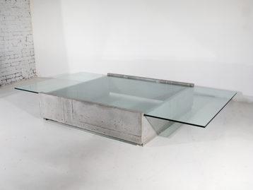 #519. LOW TABLE, concrete, glass