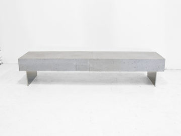 #539. BENCH, concrete, brushed stainless steel