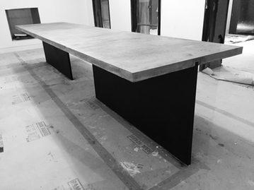 #574. TABLE, concrete, blackened steel