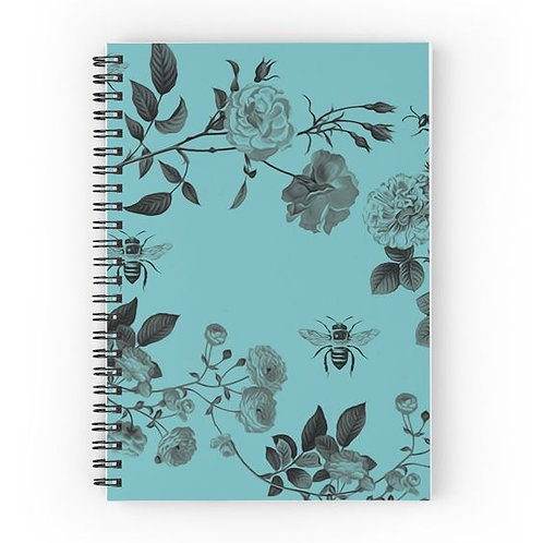 Vintage Roses and Bees Spiral Notebook Front