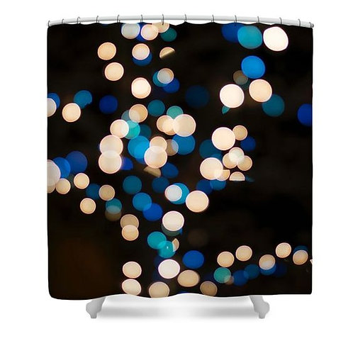 Blue and White Bokeh Lights Shower Curtain