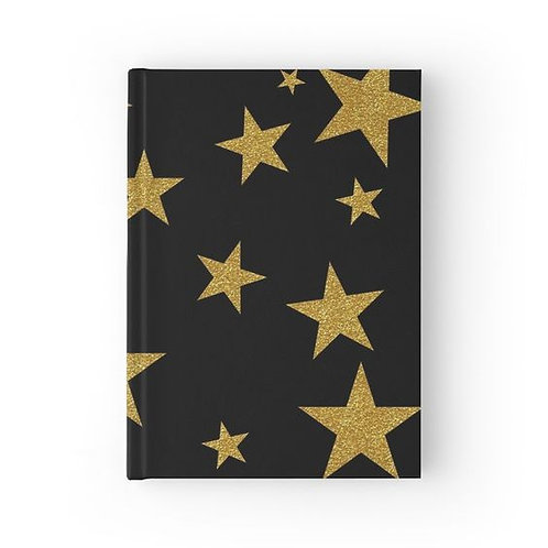 Gold Glitter Stars Hardbound Journal