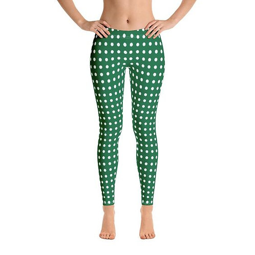 Green with White Polka Dots Leggings