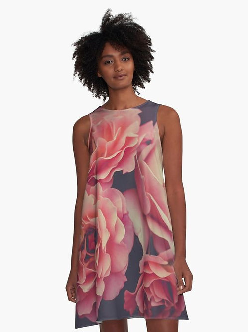 Pink Roses A-Line Dress