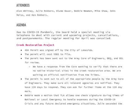 TLA Special Meeting Minutes April 2020