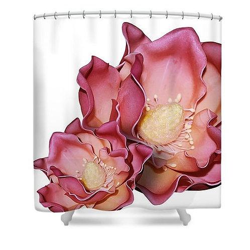 Rouge Ruffle Flowers Shower Curtain