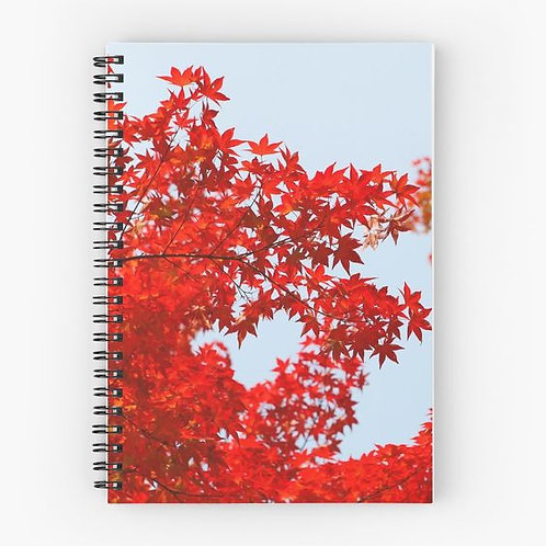 Red Leaves Spiral Notebook Front