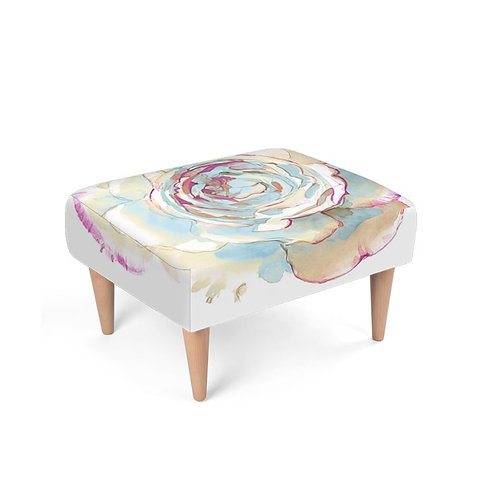 Watercolor Rose Footstool