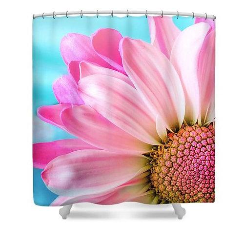 Pink Petals Shower Curtain on bath tub
