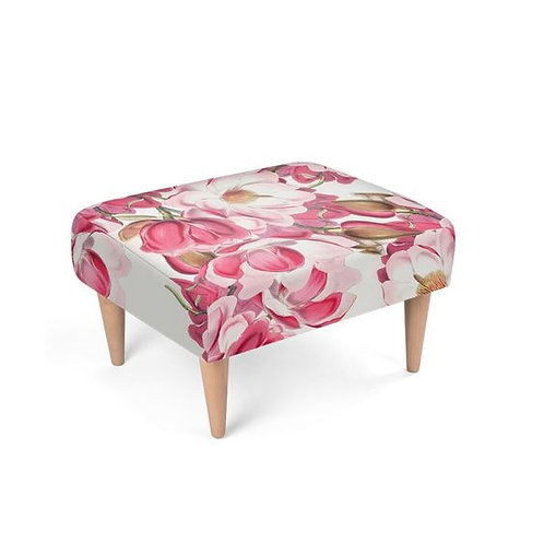 Pink Magnolia Footstool on white
