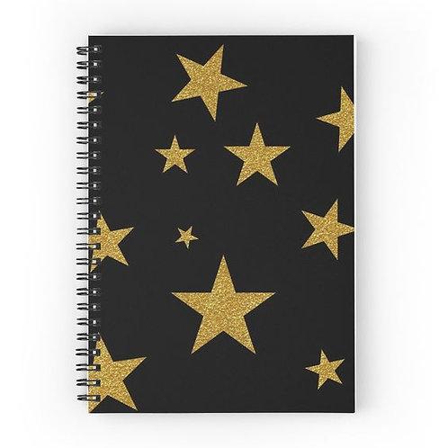 Gold Glitter Stars Spiral Notebook Front