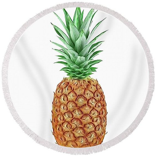 Pineapple Power Round Beach Towel