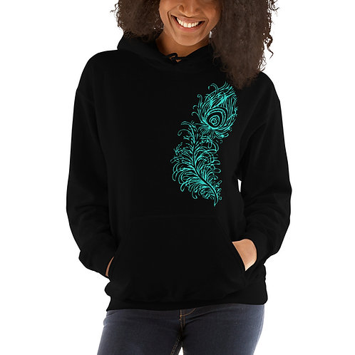Turquoise Peacock Feather Unisex Hoodie