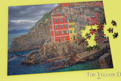 Cirque Terre Italy Jigsaw Puzzle on yellow