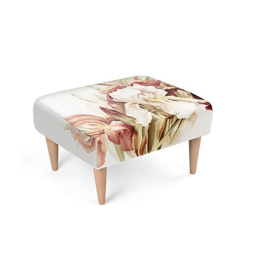 Pink and White Iris Footstool on white