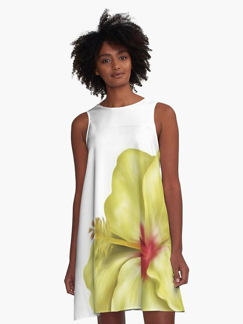 Yellowlicious Hibiscus A-Line Dress