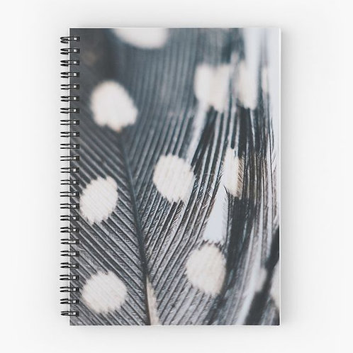 Polka-Feather Spiral Notebook Front