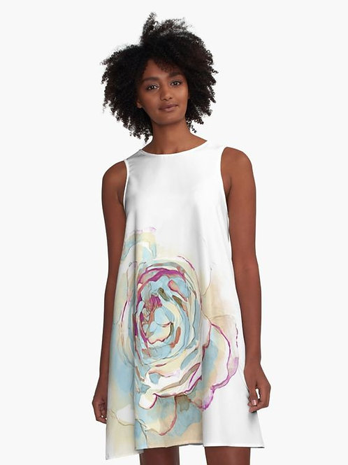 Watercolor Rose A-Line Dress