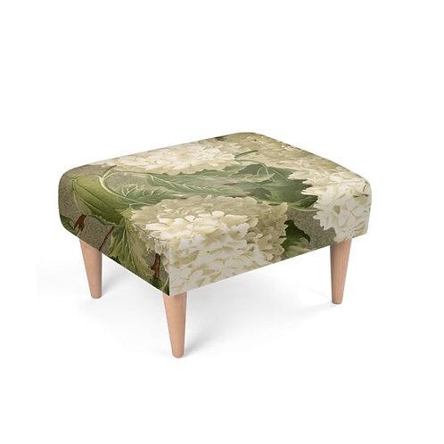 White Hydrangea Footstool front