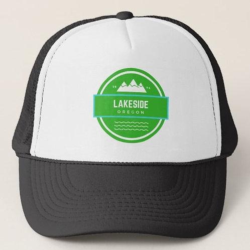 Discover Lakeside Oregon Black Trucker Hat