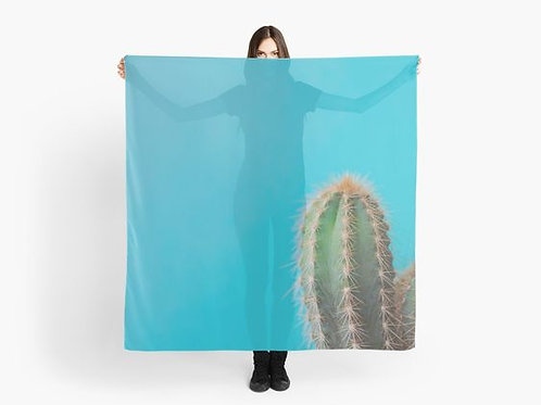 Cactus on Turquoise Scarf