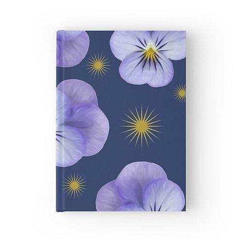 Purple Violas and Golden Starbursts Hardbound Journal