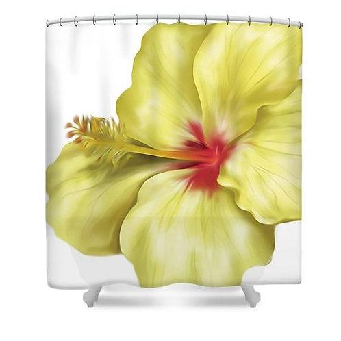 Yellowlicious Hibiscus Shower Curtain