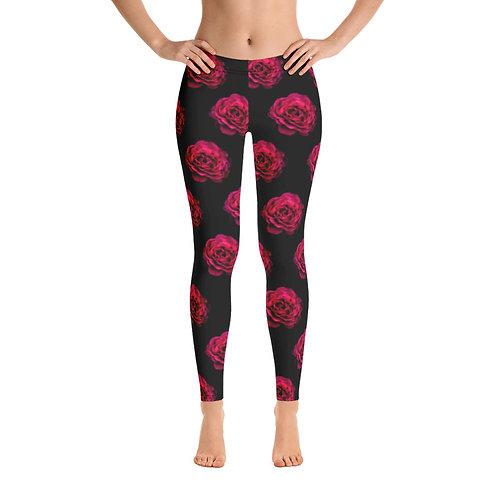 Red Roses on Black Leggings