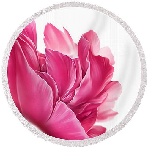 Passion Pink Flower Round Beach Towel