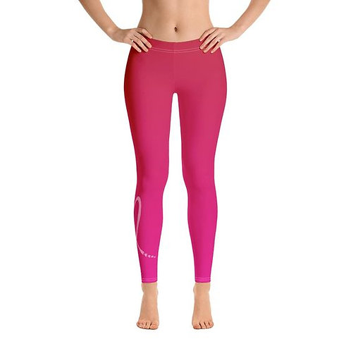 Breast Cancer Ribbon Hearts Leggings front view