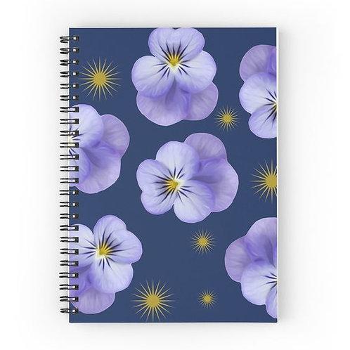 Purple Violas & Golden Starbursts Spiral Notebook