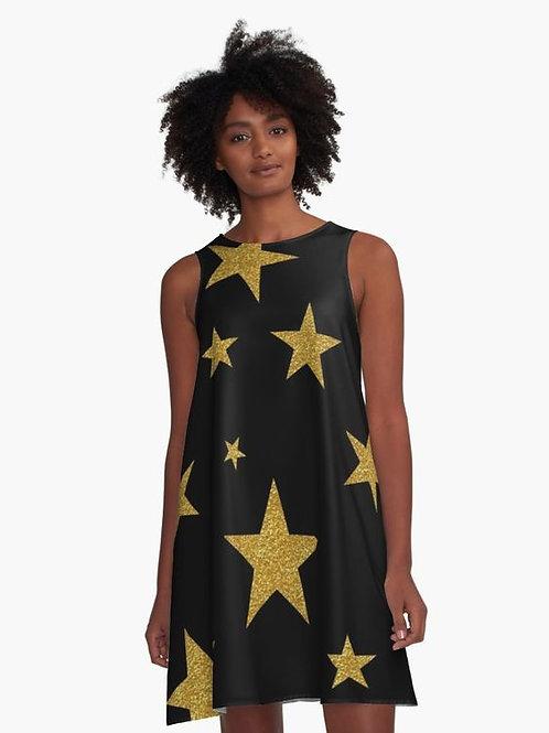 Gold Glitter Stars A-Line Dress