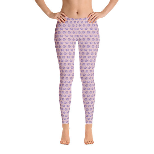 Japanese Fan and Hearts Pink Purple White Leggings Front