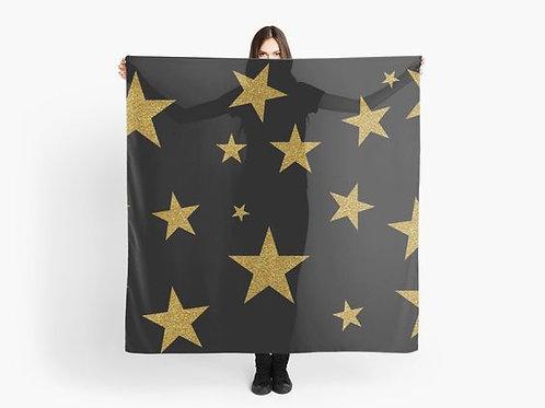 Gold Glitter Stars Scarf