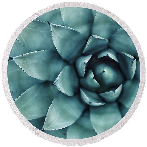 Spotted Succulent Round Beach Towel