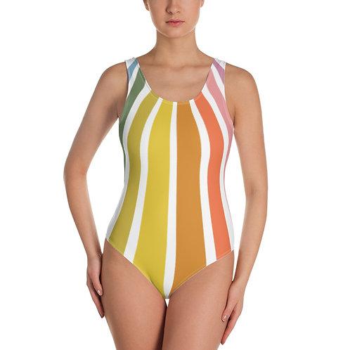 Retro Rainbow One Piece Swimsuit Front