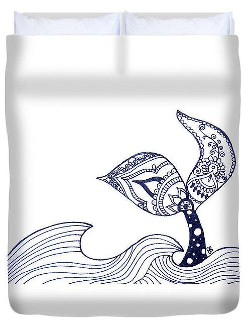 Mermaid Tail Sighting Duvet Cover, custom art by Blume Bauer