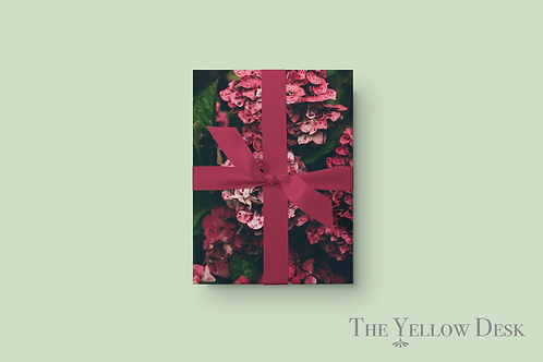 Pocket Full of Pink Hydrangeas Gift Wrap green background