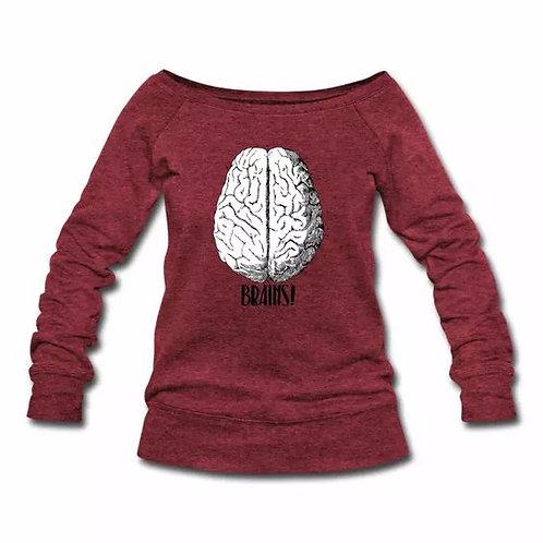 Brains! Wide-neck Sweatshirt Red