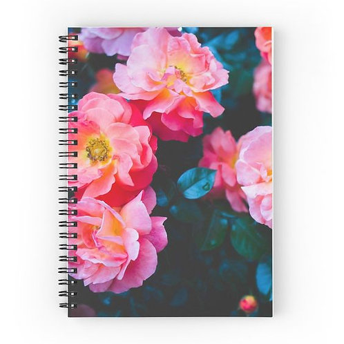 Blushing Rock Roses Spiral Notebook Front