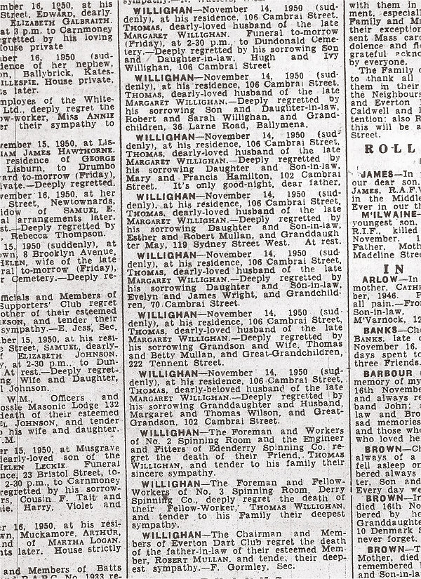 Belfast Telegraph 1950 death notices for