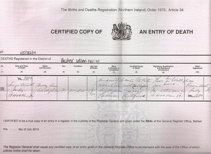 Mary Ann death certificate 1900 - widow