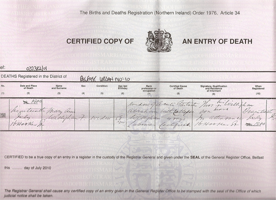 Mary Ann death certificate 1900 - widow
