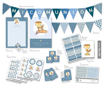 Kit Imprimible Personalizado Azul con Tramas
