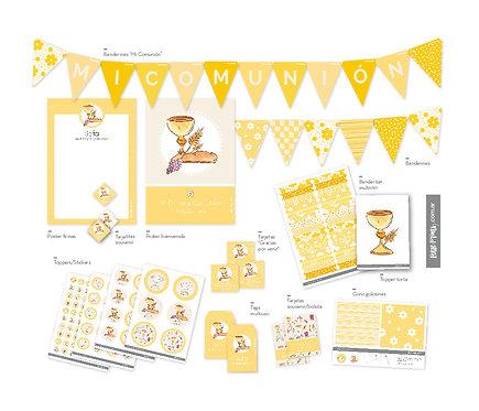 Kit Decoración Comunión personalizado amarillo